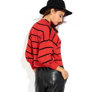 Mock Neck Puff Sleeve Striped Sweater - RED ONE SIZE