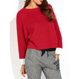 Color Block Slit Ribbed Sweater - Red - One Size