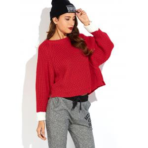 Color Block Slit Ribbed Sweater - RED ONE SIZE