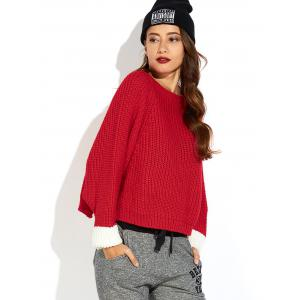Color Block Slit Ribbed Sweater -
