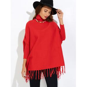 Fringe Oversized Turtleneck Poncho Long Sweater - RED ONE SIZE