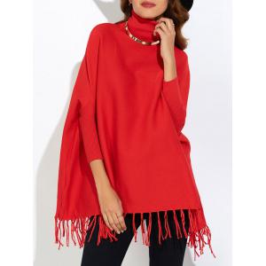 Fringe Oversized Turtleneck Poncho Long Sweater