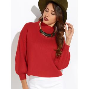 Puff Sleeve Mock Neck Sweater - RED ONE SIZE