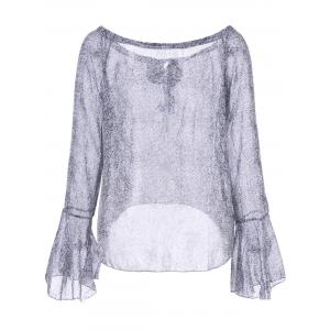 Bell Sleeve Graphic Blouse - GRAY S