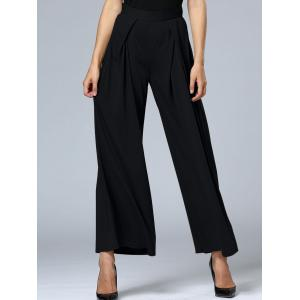 Long Pleated Palazzo Wide Leg Pants - Black - Xl
