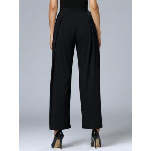 Long Pleated Palazzo Wide Leg Pants - BLACK XL