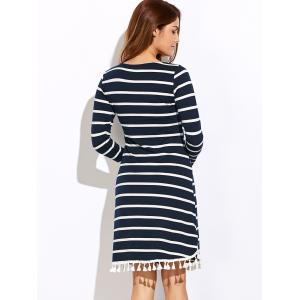 Striped Tassel Long Sleeve Tee Dress - PURPLISH BLUE XL