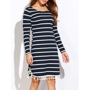 Striped Tassel Long Sleeve Dress