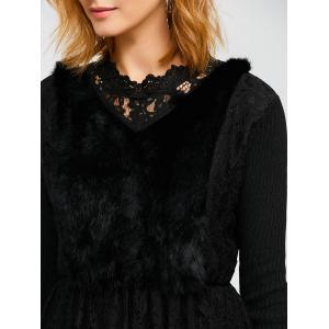 Faux Fur Lace Panel Knitted Dress -