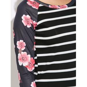 Floral Print Striped Raglan Sleeve T-Shirt -