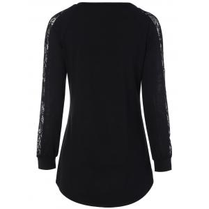 Lace Insert Raglan Sleeve Long T-Shirt - BLACK XL