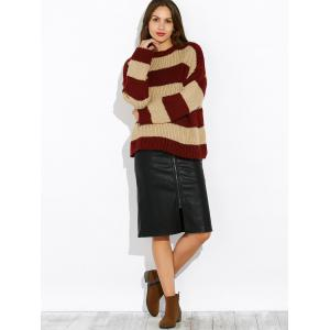 Drop Shoulder Colorful Striped Sweater - BURGUNDY ONE SIZE