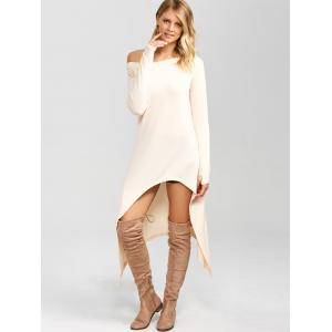 High Low Convertible Off The Shoulder Dress - PINKBEIGE M