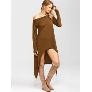 High Low Convertible Off The Shoulder Dress - COFFEE XL