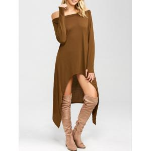 High Low Convertible Off The Shoulder Dress - Coffee - M