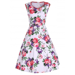 Retro Mini V Neck Sleeveless Floral Dress