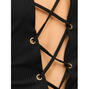 Lace Up Knit Pullover Fitted Ribbed  Crop Top - BLACK XL