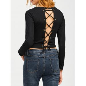 Lace Up Knit Pullover Fitted Ribbed  Crop Top - Black - L