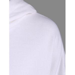 Drop Shoulder Heart Embroidery Pattern Loose Hoodie - OFF WHITE ONE SIZE