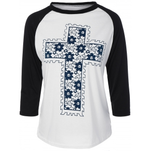 Floral Cross Pateern Raglan Sleeve T-Shirt