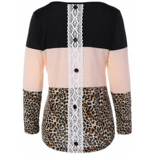 Back Lace Spliced Button Embellished Leopard Print T-Shirt - COLORMIX XL