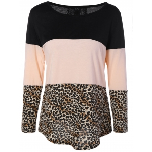 Back Lace Spliced Button Embellished Leopard Print T-Shirt - Colormix - S