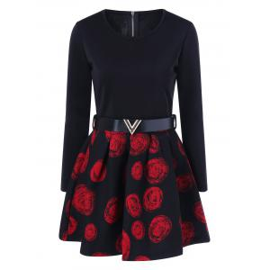 Floral Print Belted A Line Dress - Red - M
