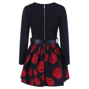Floral Print Belted A Line Dress - RED M