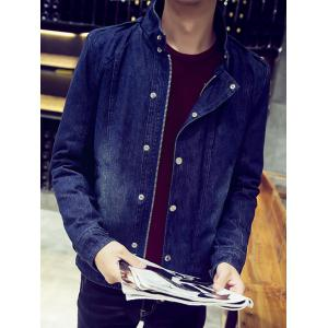 Snap Front Stand Collar Flocking Denim Jacket -