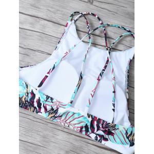 Crisscross Strappy Top High Neck Printed Bikini Swimsuit -