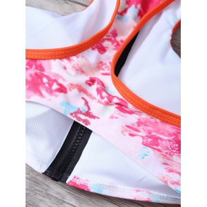 Racerback Zip Front Printed High Neck Bikini Top Set -