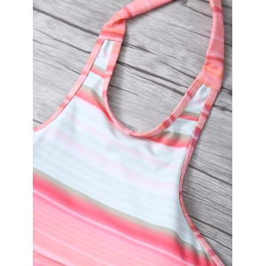 High Neck Striped Halter Bikini - MULTICOLOR XL