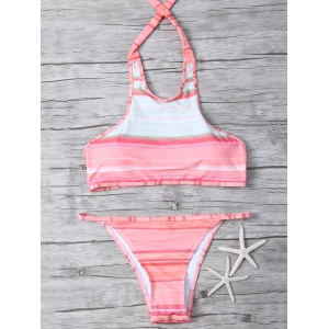 High Neck Striped Halter Bikini