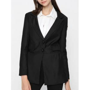 Two Button Classic Long Blazer - Black - L