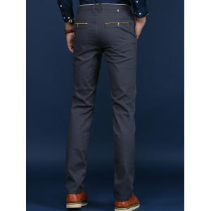 Trimmed Mid Rise Skinny Chino Pants - DEEP GRAY 38
