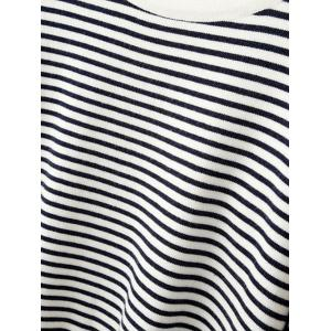Round Neck Jumper Striped Sweater - WHITE AND BLACK ONE SIZE