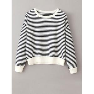 Round Neck Jumper Striped Sweater - White And Black - One Size