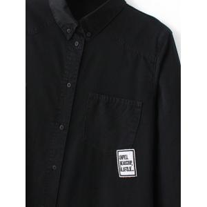 Long Sleeve Patched Denim Shirt -