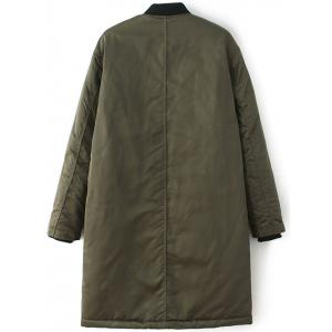 Stand Neck Bomber Padded Coat - ARMY GREEN L