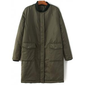 Stand Neck Bomber Padded Coat - Army Green - M