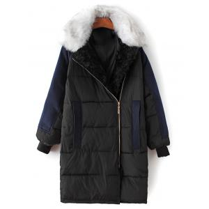 Fur Collar Wool Panel Quilted Coat - Black - S