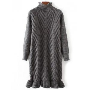 Chunky Pullover Long Sweater - Deep Gray - One Size
