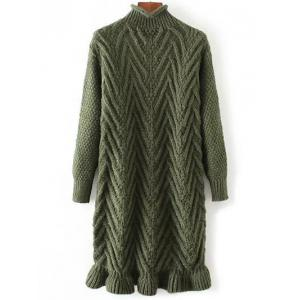 Chunky Pullover Long Sweater - Green - One Size