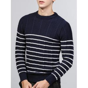 Striped Twist Knit Crew Neck Sweater