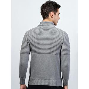 Turtleneck Ribbed Pullover Sweater - LIGHT GRAY 2XL