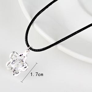 PU Leather Rope Rhinestone Flower Necklace - SILVER