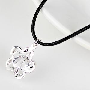 PU Leather Rope Rhinestone Flower Necklace