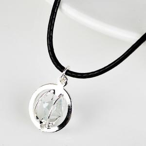 PU Leather Rope Rhinestone Circle Necklace - Silver