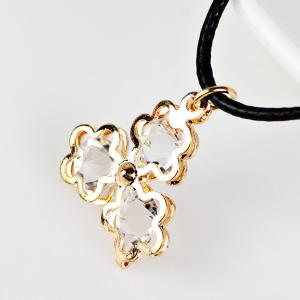 PU Leather Rope Rhinestone Floral Necklace - GOLDEN