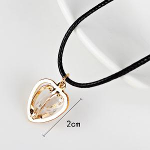 PU Leather Rope Rhinestone Heart Necklace - GOLDEN